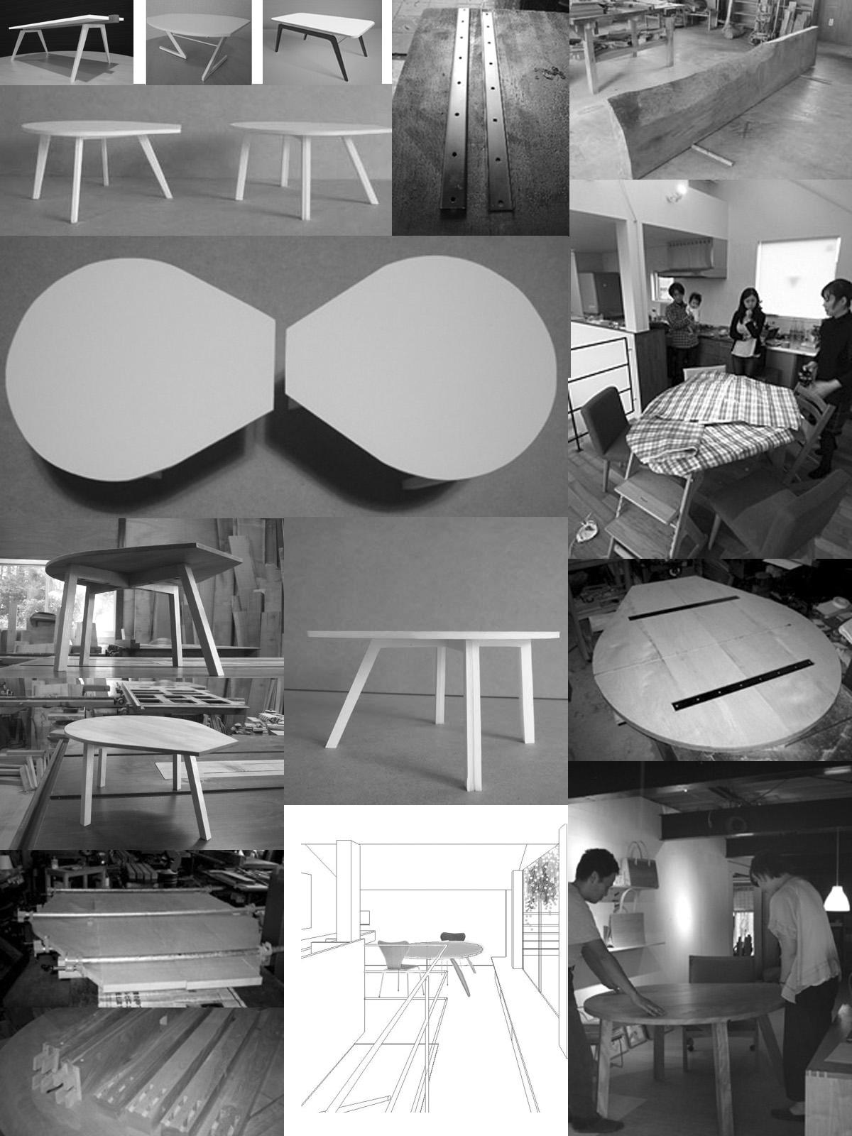 港北N邸の涙型テーブル制作