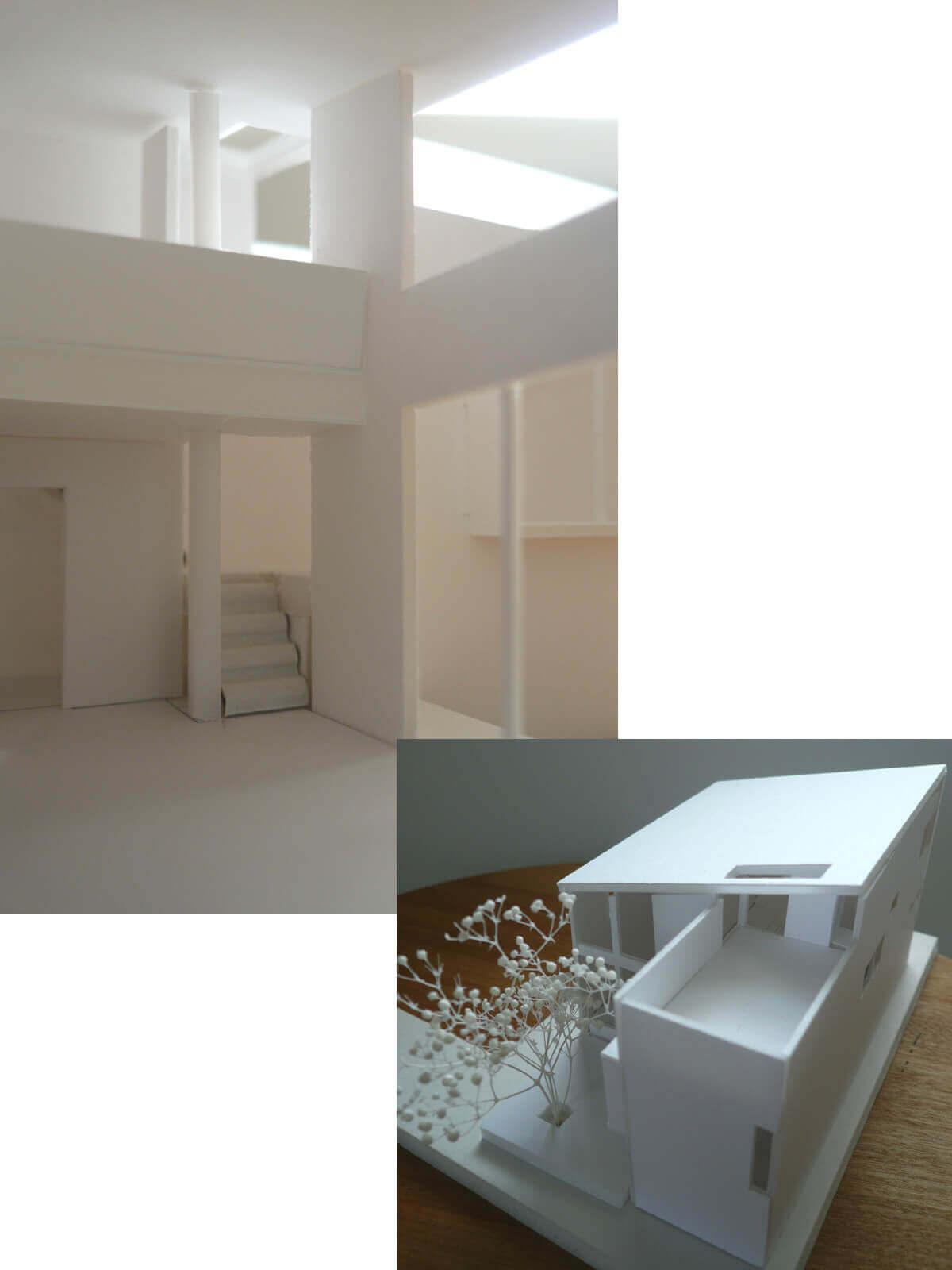 登戸Y邸のトライアル案、1/100の模型