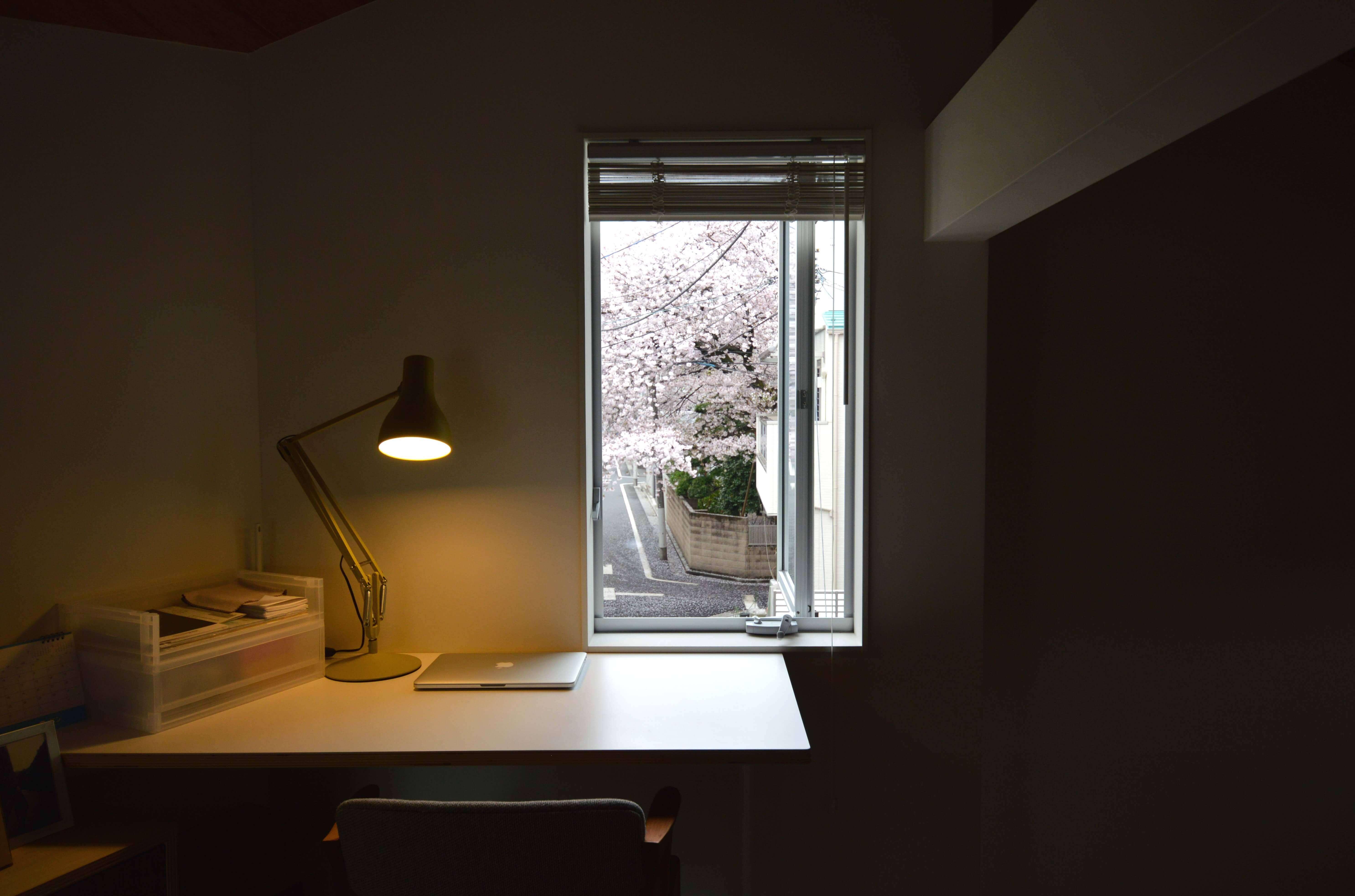 石神井U邸、入り窓からみえる桜